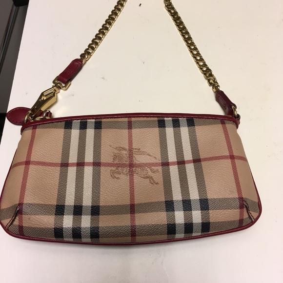 98fe46417a3 Burberry Bags   Leather Trim Haymarket Clutch   Poshmark